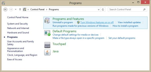 Painel de Controle -> Programas -> Habilitar ou desabilitar recursos do Windows
