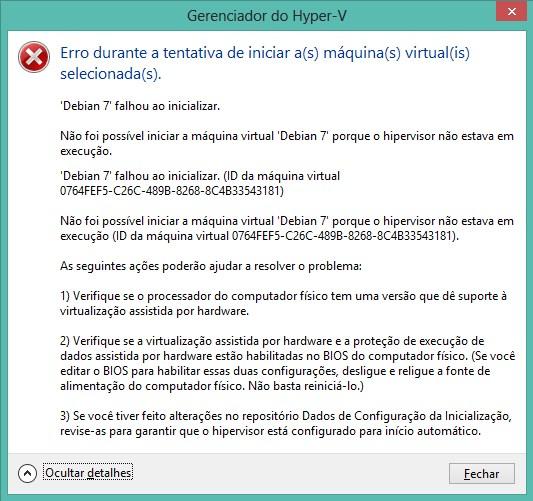 Erro ao iniciar uma VM no Hyper-V