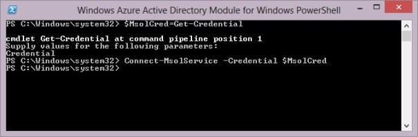 Connect-MsolService