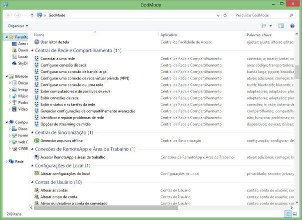 """Tela """"godmode"""" que dá acesso a vários recursos do Sistema Operacional"""