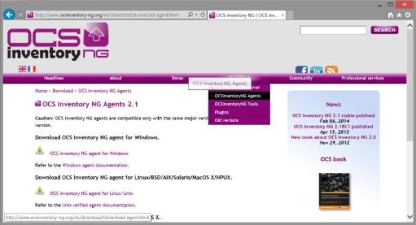 Download do arquivo de instalação do Agente do OCS