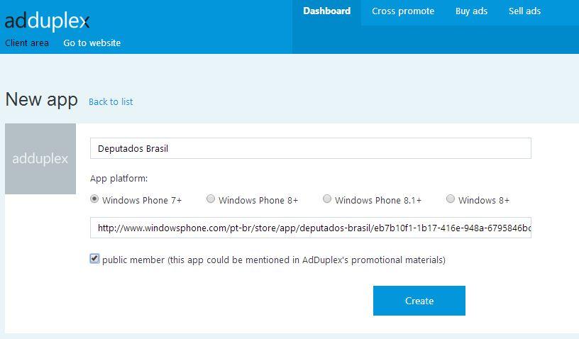 Criando uma nova APP no AdDuplex