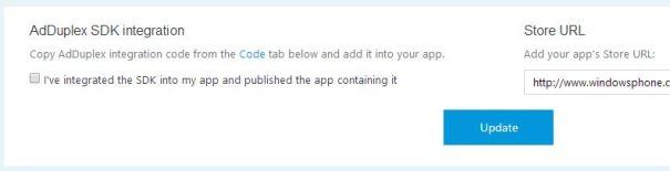 Indicação de que sua APP já conta com o AdControl e que a mesma já foi submetida para a Windows Store